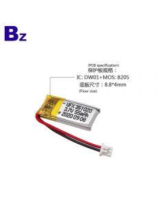 중국 뜨거운 판매 블루투스 장치 Lipo 배터리 UFX 351020 55mAh 3.7V 리튬 폴리머 배터리