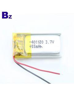 심천 최고의 리튬 전지 제조 업체 블루투스 스마트 팔찌 용 Lipo 배터리 맞춤 설정 BZ 401120 55mAh 3.7V 리튬 폴리머 배터리 KC 인증 포함