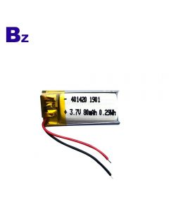 중국 최고의 리튬 배터리 공장 형광등에 대 한 사용자 지정 된 리튬 이온 배터리 BZ 401420 80mAh 3.7V Lipo 배터리