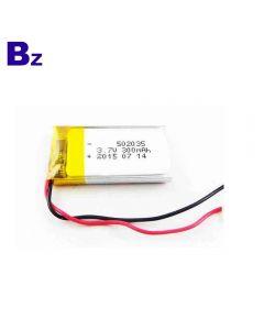리튬 배터리 공장 블루투스 스피커 용 맞춤형 KC 인증 Lipo 배터리 BZ 502035 300mAh 3.7V 폴리머 리튬 이온 배터리