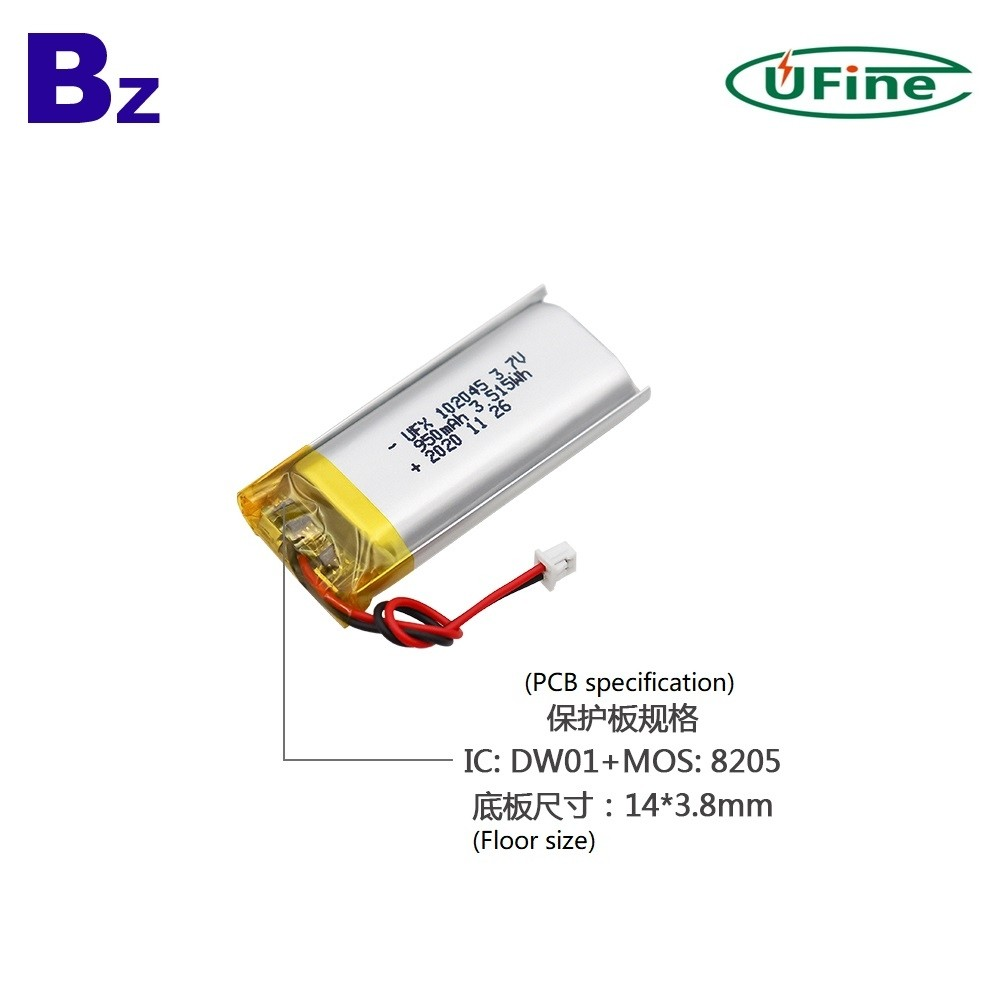 102045 950mAh 3.7V 리튬 폴리머 배터리