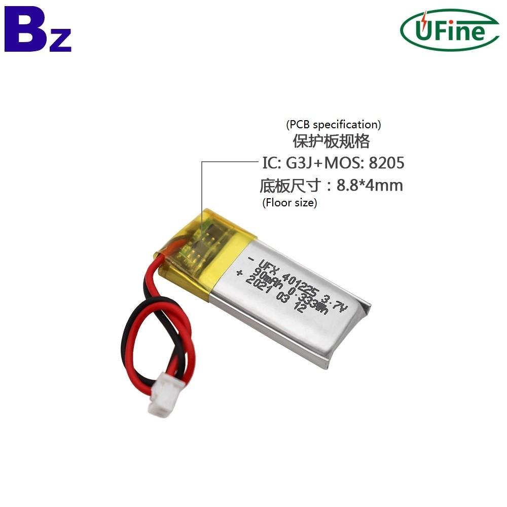 401225 3.7V 90mAh 리튬 폴리머 배터리