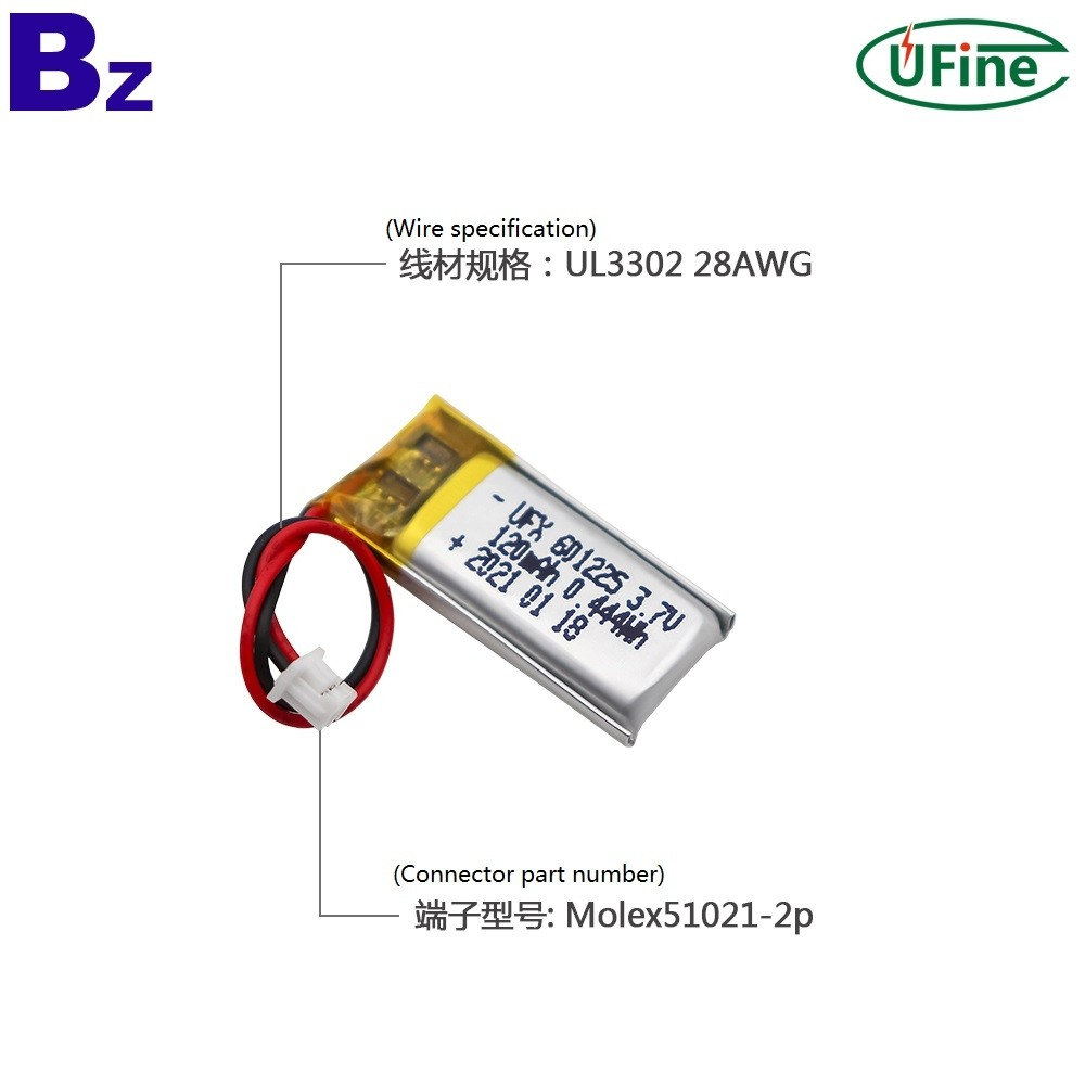 601225 3.7V 120mAh 리튬 폴리머 배터리