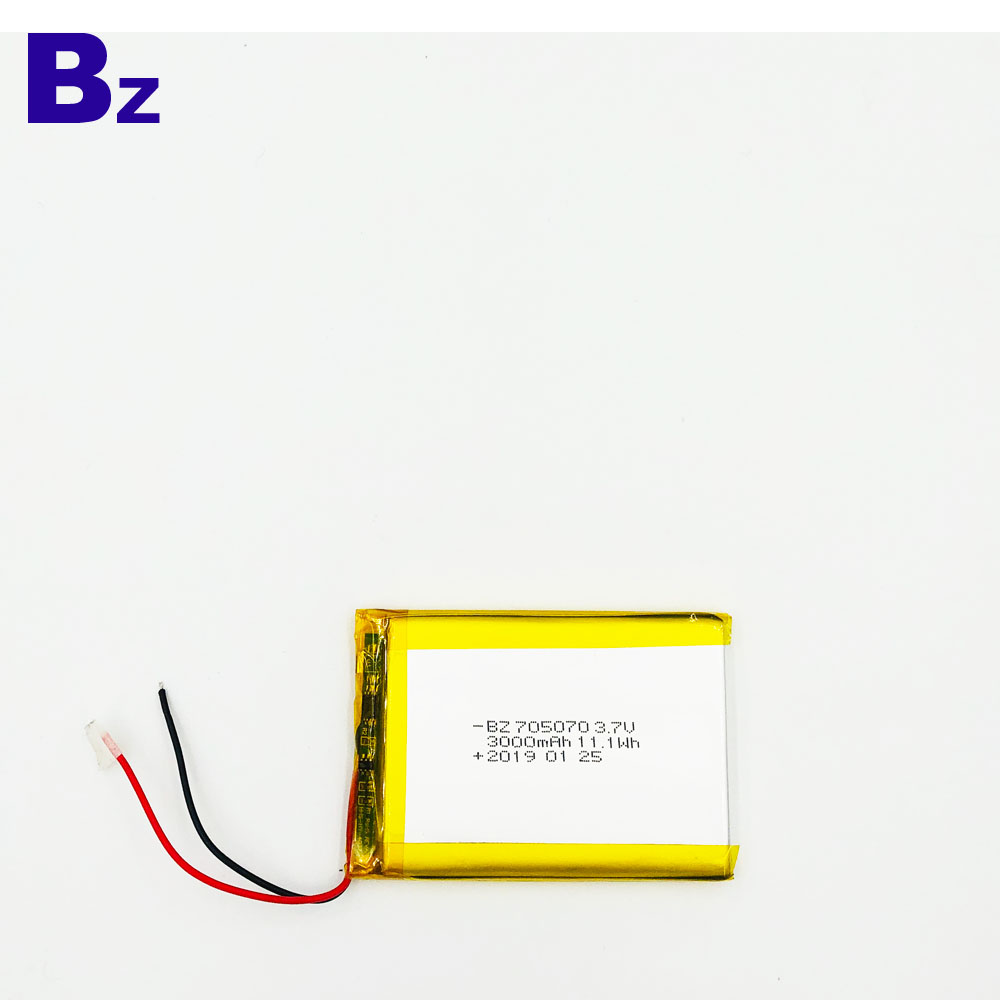 705070 3000mAh 3.7V 충전식 Lipo 배터리
